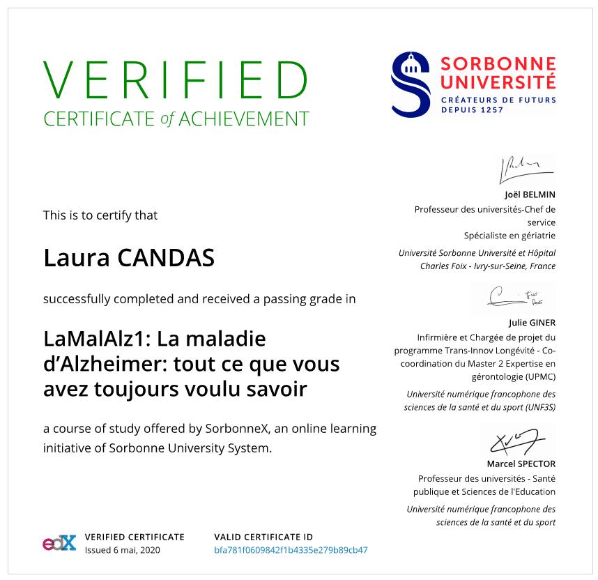 Certificat Sorbonne Alzheimer
